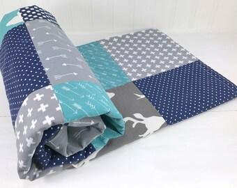 Baby Boy Blanket, Nursery Decor, Minky Blanket, Woodland Nursery, Navy Blue, Charcoal, Grey, Gray, Steel, Teal, Deer, Buck, Arrows, Tribal