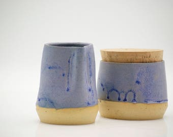 ceramic creamer set - Cream and sugar set - wheel thrown - blue pottery - unique gift ideas - housewarming gift - wedding gift-ready to ship