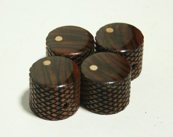 Set of 4 Knurled Bolivian Rosewood Guitar Knobs with Ash Dot Indicator  (3/4 inch dia x 11/16 height)