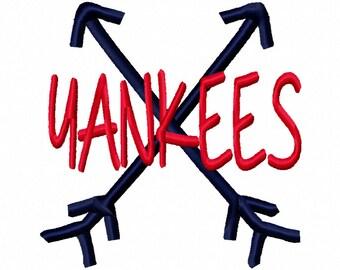 Yankees Cross Arrows Machine Embroidery Design 4x4 5x7 6x10 New York Team Instant Download Basketball Football Baseball Sports little league