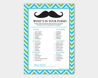 Boy Baby Shower Mustache Little Man Chevron What's in Your Purse Printable Print your Own INSTANT DOWNLOAD bs-028