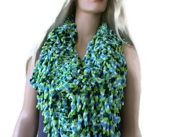 Velvet fringe scarf-Green blue white-Hand knitted  fringe scarf-Lime green sea blue and white  Infinity scarf