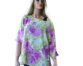 Floral chiffon summer top-L-Loose fitting-Yellow green and pink-Spring summer collection-Size L-only one