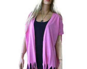 Boho kimono jacket, Pink cotton Jersey fringe kimono-Pretty Pink kimono cardigan with fringes, 2017 summer collection-Introductory price