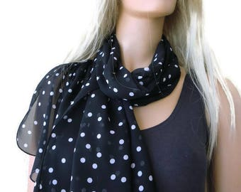 Black and white Polka dot scarf- Long chiffon scarf -Parisian Neck Tissu-Black and white scarves