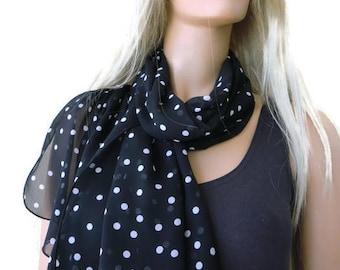 Black and white Polka dot scarf- Long chiffon scarf -Parisian Neck Tissu-Black and white scarves