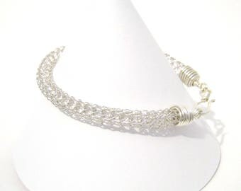 Viking Knit Bracelet - Silver Plated Copper - Made to Order - Thick Woven Chain - Tarnish Resistant