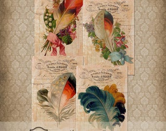 Victorian Feather Cards Printable Journaling Scrapbook Collage
