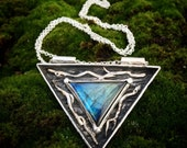 RESERVED - Art Jewelry - Triangle Shadow Box with Labradorite and Twigs -  Nature and Occult Inspired - Hand Sculpted in Fine Silver