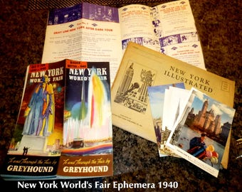 1939-40 New York World's Fair Ephemera. Greyhound & Gray Line Brochures. St. Patrick's Cathedral Post Cards, Views of the Fair and NYC.