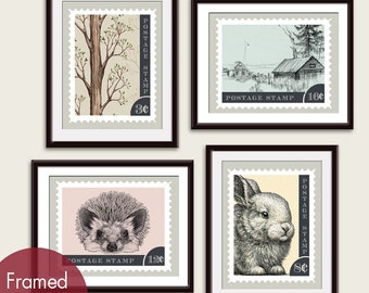 Vintage Woodland Wanderlust Stamps - Art Prints (Featured in Assorted Colors) Forest, Cabin, Baby Porcupine, Bunny Stamps