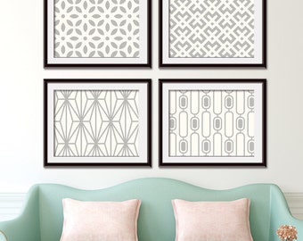 Mod Scandinavian Prints Collection (Series C2 Horizontal) Set of 4 - Art Poster Prints (Featured in Silver Cloud on Soft Cream)