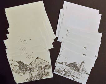 12 Notecards, Country Barn Scenes, Pen And Ink, 2 Designs, 6 Each, Linen Like Paper, 6 White, 6 Cream Colored, Thank You Notes, Invitations