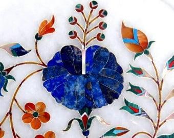 VINTAGE MARBLE India PLATE ,inlay gemstones,Taj Mahal style,refined lapis lazuli,malachite,flowers,royal blue,rust,turquoise,green,kelly
