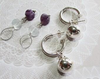 Sterling Silver Interchangeable Hoop Earrings on Etsy by APURPLEPALM