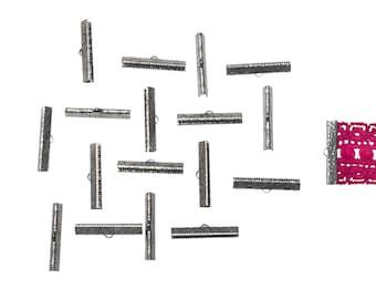 150pcs.  35mm (1 3/8 inch)  Gunmetal Ribbon Clamp End Crimps - Artisan Series