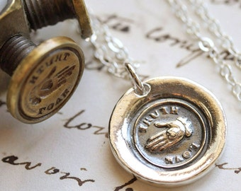 Truth, Love Victorian Wax Seal Necklace - Fine Silver, Sterling Silver