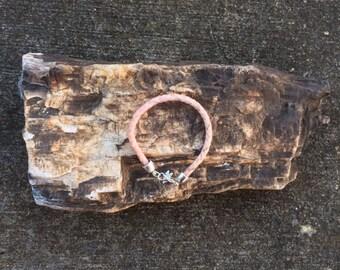 7.5 Inch Pink/Lavender Horse Hair Braided Horsehair Bracelet - 6MM Round Braid