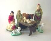 Vintage Nativity Set Chalk ware Incomplete Childs Set Vintage Creche