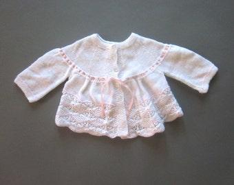 Vintage Hand knit White Baby Girl Sweater Newborn