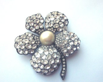 Large Rhinestone Floral Brooch Pearl Crystals