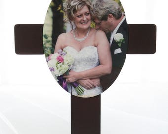 Personalized Photo Wedding Anniversary Cross gift wall hanging wooden crucifix