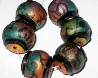 Handmade polymer clay beads, Hand painted Purple, Blue and Gold