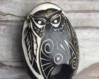 Tagua nut sacred pipe carving owl feather sculpture