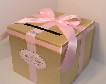 wedding card box gold and light pink gift card box money box holder customize your