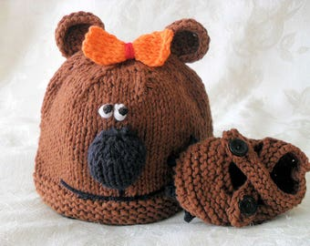 Hand Knitted Brown Bear hat and Matching Bear Booties Knitted Animal Baby Beanie Knitting Knitted Newborn Baby Hat Children Clothing
