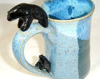 Bear Mug Black Bear Cub Parent Child Cup Pair