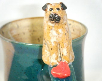 Pug Mug Dog Cup Red Heart Puppy Love Spruce Green ClayDogStudio