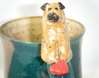 Pug Mug Red Heart Dog Cup Puppy Love Spruce Green ClayDogStudio