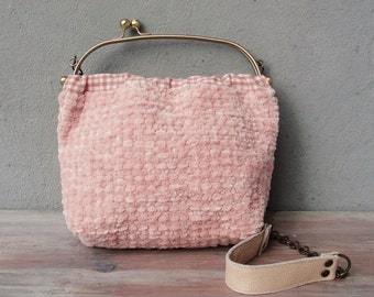 Cotton Candy Bag, Hand Woven Chenille Pink Bag, Woven Bag, Leather Strap, Kiss-lock, Gingham