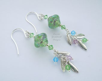Water Garden earrings, sterling silver earrings, green lampwork earrings, silver leaf earrings, Monet inspired earrings, water lily earrings