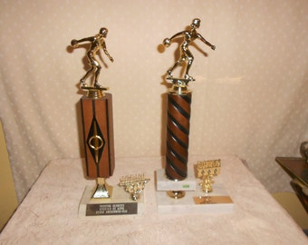 Bowling Trophy Women's 1977 and 1982 Hi game set of 2