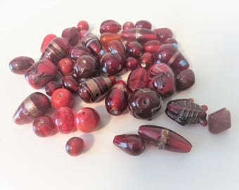 Lamp Work Bead Lot ,  40 beads various sizes and design, Red Glass Bead Lot