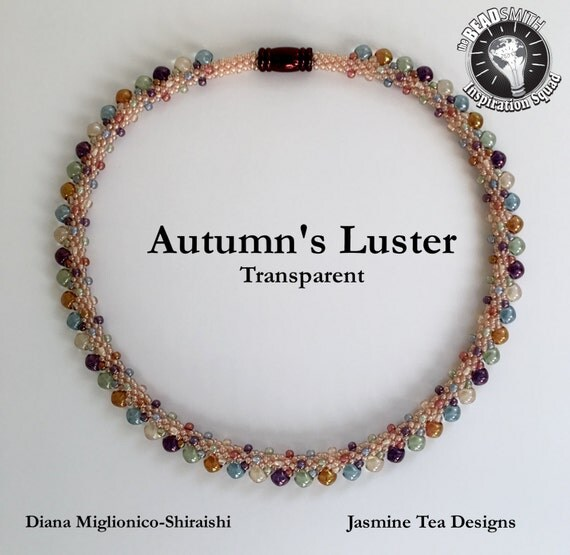 Autumn's Luster, Transparent, Beaded Kumihimo Necklace, A Fully Beaded Kumihimo Necklace, Measures 18, Inches Magnetic Clasp