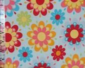 Riley Blake Just Dreamy Knit Fabric - Light Blue Bright Floral Knit Fabric - Riley Blake Cotton Lycra Knit Fabric - Riley Blake K4130 Knit