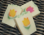 Spring Flower Soap / Floral Soap / Tulip Soap / Cold Process Handmade Soap