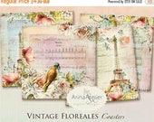 SALE 70% OFF - Coasters Vintage Floreales - Background - background - digital collage sheet - set of 4 - Printable Download