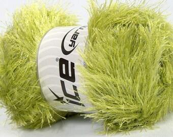 ICE YARNS Eyelash Glitz green 1 skein 100gr novelty fancy bulky shimmering metallic knitting crochhet supplies 46560