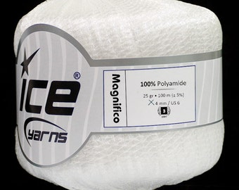 ICE YARNS MAGNIFICO white 3 light dk worsted polyamide ribbon knitting crochet supplies 45207