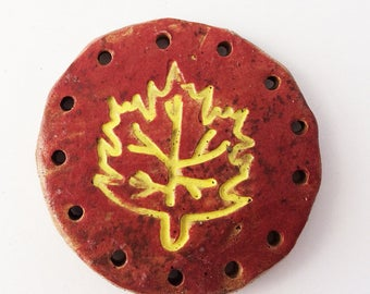 Red and Yellow Maple Autumn Decor Leaf Start for Pine Needle Basket