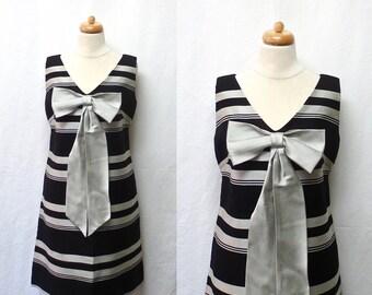 1960s Vintage Silk Faille Dress / Black & Silver Striped Shift Dress