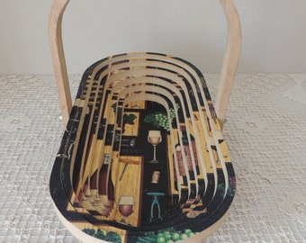 Decorated Collapsible Wooden Basket. Hand Crafted Spiral Cut Wooden Fruit Basket. Wine, Grapes, Glasses Wood Wall Hanging Basket.