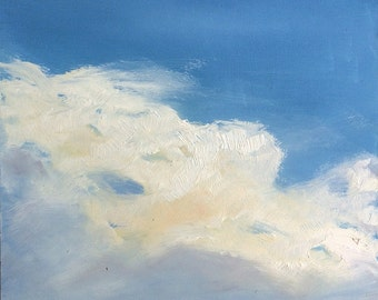 CLOUD III, 8 x 8  ( 20 x 20 cm) Original oil painting on hardhoard. Cloud painting. By Yvonne Wagner. Sky. Blue. Nuages. Wolken. SALE.