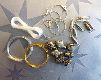 Supplies - Pile of Misc Clasps, Wire, Beads and more