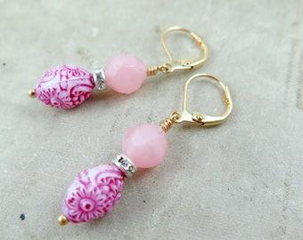 Pink Beaded Earrings, Vintage Beaded Earrings, Drop Earrings, Gift for Teen