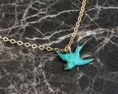 Blue Bird Pendant Mini Necklace, Blue Necklace, Small Bird Necklace, Turquoise Wedding Bird Jewelry, Tiny Choker Jewellery